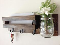 Rustic mail organizer key rack with mason jar, wall mail sorter and key holder, mail holder, entryway organizer, mason jar vase by TreetopWoodworks on Etsy Wall Key Holder, Key Holders, Diy Key Holder, Mail And Key Holder, Decoration Entree, Recycled Glass Bottles, Mason Jar Vases, Diy Casa, Entryway Organization