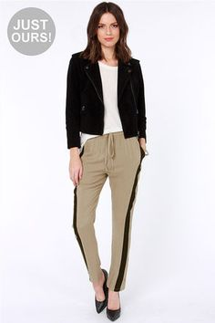 LULUS Exclusive Places to Be Black and Taupe Pants at LuLus.com! - $35.00