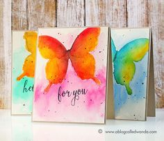 Watercolor butterfly tutorial by Wanda Guess Butterfly Watercolor, Butterfly Art, Watercolor Cards, Watercolor Paintings, Watercolors, Watercolor Water, Paint Cards, Kirigami, Art Design