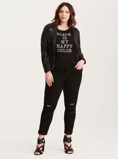 Black is my Happy Slub Crew Neck Tee/ Plus Size Clothing / TORRID