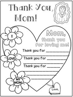 Mother's Day Writing Activities for Grade Mothers Day Poems, Mothers Day Crafts For Kids, Happy Mothers Day, Mother Day Gifts, Fun Writing Activities, Mothers Day Coloring Pages, Mother's Day Projects, Kindergarten, Cool Writing