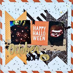 October 2014 - Scrapbook.com - Take photos of lit Jack O Lanterns and use Crate Paper's After Dark collection to scrapbook them.