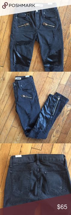 Distressed Black Leather & Denim Skinny Jeans Super sexy sophisticated black skinnies with leather detail and distressed elements. Zipper ankles. Stretchy. Size 24. I'm a size 27/28 and these are now just a little too snug thanks to Halloween candy 😭 such stylish gems. I'll miss these. Xoxo like new. Lovers + Friends Jeans Skinny