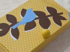 Yellow Bluebird Up Cycled Box, Recycled Box, Bluebird Storage Box, Jewelry Box, Trinket Box, Recycled Cigar Box by KimsCountryCorner on Etsy
