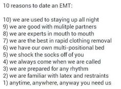 10 reasons to date an EMT ;-)