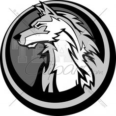 Wolf Surrounded by Circle Logo | Wolf Head in Circle Graphic Clipart Logo
