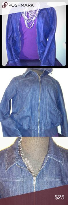 New York & Company Jean Jacket New York & Company Jean Jacket in excellent condition. Zip up with 2 pockets ( still sewn shut) Jean collar with ribbed cuffs and trim. Shell: 98% cotton 2% spandex. Linning: 65% polyester 35% cotton. New York & Company Jackets & Coats Jean Jackets