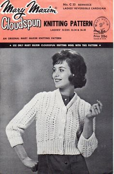 """ladies cardigan knitting pattern pdf download vintage 50s womens lacy crop cardigan 3/4 sleeve short cardigan 32-38"""" chunky bulky 12 ply by Hobohooks on Etsy"""