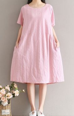Women loose fitting over plus size pink dress long maxi tunic pocket fashion #Unbranded #dress #Casual