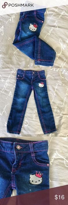 Princess by Hello Kitty Toddler Girl's Jeans 3T Princess by Hello Kitty Toddler Girl's Jeans   •Size 3T •Like new!  •Zipper & Button Closure •Adjustable waist elastic bands that button to tighten or loosen waist.  •White mark from fade/wash under Hello Kitty Patch (shown in pictures).   Ships SAME or NEXT business day from a Smoke-Free environment! Hello Kitty Bottoms Jeans