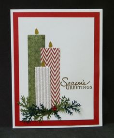 handmade Christmas card .. trio of candles cut from patterned paper on a bed of dimensional foliage ... sweet and simple ... like it!!
