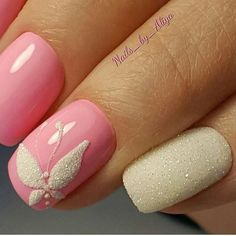 Having short nails is extremely practical. The problem is so many nail art and manicure designs that you'll find online Hot Nails, Pink Nails, Hair And Nails, Butterfly Nail Art, Butterfly Design, Luxury Nails, Classy Nails, Nagel Gel, Flower Nails