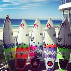 i like these 5 boards because they are different and have a lot of colour on them, all different shapes and colours that make these surfboards unique and different from other boards that people have.