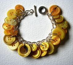 Lemon Yellow Button Charm Bracelet. via Etsy.