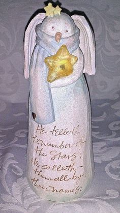 Angel With Star Lighted Figurine Karen Hahn Psalms 147:4 NIB RETIRED Enesco RARE
