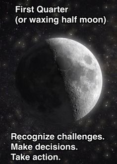 First quarter moon. #mooncycles #moonphases #newmoon setting intentions.