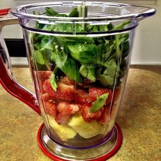 Tuesday Morning Smoothie  1/2 banana 1 cup strawberries 1 cup spinach 1/2 cup coconut milk 1 tablespoon chia seeds