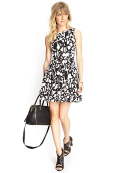 Abstract Print Pleated Dress from Forever Only Fashion, Womens Fashion, Cute Dresses, Dresses 2014, Business Fashion, Trendy Outfits, Work Outfits, Everyday Fashion, Dress To Impress