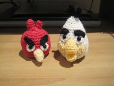 Two Angry Birds crochet pattern. Angry Red Bird and Angry White Bird, it's free!  I'll be making these for my five-year old nephew. He loves them. I can't wait to see his reaction on Skype.  http://www.queeniechan.com/2011/12/08/white-angry-bird-%E2%80%93-free-crochet-pattern/