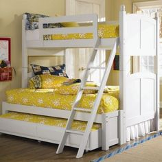 Bunk bed for 3.  This would be perfect for the girls room.  Perfect for sleep overs!