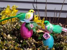 Birds from the dollar store on top of easter eggs!