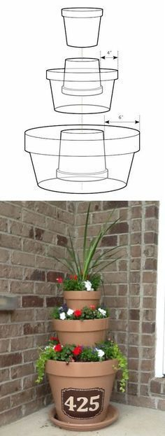 Create this impressive tower of flowers with just a few varying sized pots and your choice of flowers or herbs! This is perfect for a patio or deck that is in need of something prominent and high for a large corner or section in need of disguise. Read the full instructionshere.