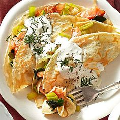 Smoked Salmon and Goat Cheese Crepes From Better Homes and Gardens, ideas and improvement projects for your home and garden plus recipes and entertaining ideas.
