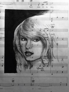 Taylor Swift drawn in graphite, charcoal and ink on recycled sheet music by Donna Taranto