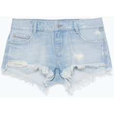 Zara Ripped Denim Shorts ($30) ❤ liked on Polyvore featuring shorts, bottoms, short, pants, light blue, short shorts, light blue jean shorts, denim short shorts, denim shorts and ripped short shorts