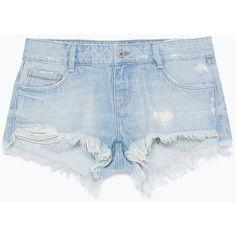 Zara Ripped Denim Shorts found on Polyvore