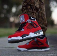 #sneakers #jordans 2014 popular air jordan 4 all red,