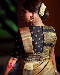 Exclusive Saree Blouse designs for every South Indian Bride!- Eventila Tired of scrolling through a bunch of pages to find that perfect blouse designs? Check out the top most South Indian blouse designs to pair with a kanjeevaram saree- Eventila Blouse Back Neck Designs, Brocade Blouse Designs, Wedding Saree Blouse Designs, Fancy Blouse Designs, Traditional Blouse Designs, Saree Blouse Patterns, Sari Design, South Indian Blouse Designs, Stylish Blouse Design