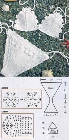 Crochet bikini set with pattern