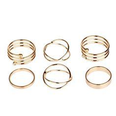 Golden 6pcs Metal Wrap Above Knuckle Stack Urban Plain Finger Midi Ring Set Vintage vergolden einfach ring sets S467K03