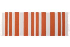 Olle Orange - traditional nordic rug with modern stripes. It's made in Finland with high quality and good taste. Find it online www.viitanordic.com