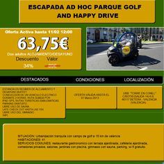 Golf and Happy drive (Valencia). Conduce un vehículo eléctrico...  http://www.travelenaccion.com/info/2209/superchollo1.php