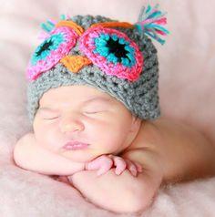 The owl handmade crochet Hat Newborn