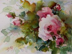 Watercolor Pictures, Pen And Watercolor, Watercolor Sketchbook, Watercolour Painting, Watercolor Flowers, Painting Flowers, Watercolours, Spring Painting, Rose Art