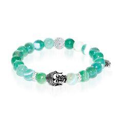 Astral Adventurer | White Gold Buddha | Green Striped Faceted Agate Bracelet