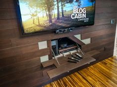 We love this hidden storage for electronics!