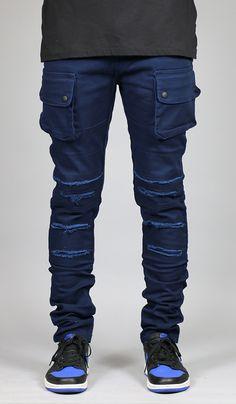 Cobalt Cargo Slim Tapered Pants