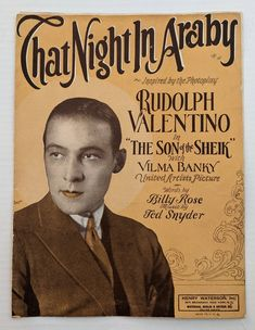 That Night In Araby Vintage Sheet Music Inspired by the | Etsy Vintage Sheet Music, Vintage Sheets, Music Magazines, Vintage Magazines, Magazine Titles, Rudolph Valentino, Coca Cola Ad, Fun Songs, Canvas Prints