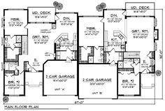 Plan 89253AH: Traditional Ranch Duplex