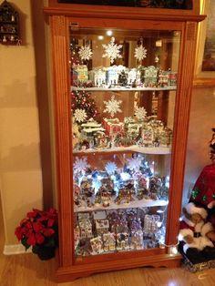 Christmas village in my curio cabinet.