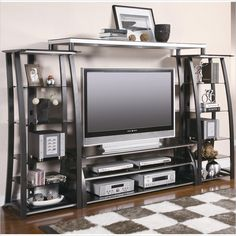 Coaster Contemporary Metal and Glass Entertainment Center - 700681+2x2+3-KIT