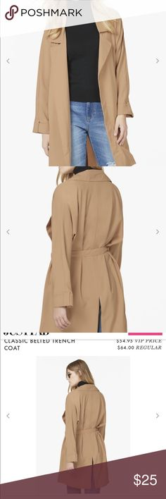 Classic Belted Trench Coat Swing right into the season with a classic coat that will keep you warm and stylish. This trench coat features a belted waist and a long silhouette that's perfect for a dressy occasion. JustFab Jackets & Coats Trench Coats