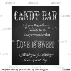 Candy Bar wedding print  chalkboard - blackboard