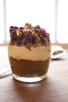 Homemade granola & yogurt with rhubarb, ginger compote.