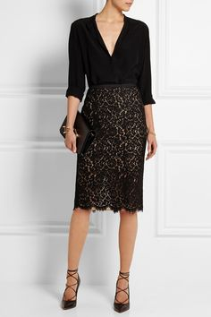 "Michael Kors | Guipure lace pencil skirt | <a href=""http://NET-A-PORTER.COM"" rel=""nofollow"" target=""_blank"">NET-A-PORTER.COM</a>"