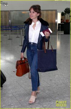 Felicity Jones Calls 'Rogue One' Fight Scenes 'Exhausting'   felicity jones casual leaving london heathrow 11 - Photo